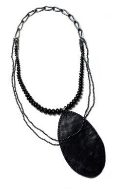 Caroline Gore  Necklace: ...outlier... 2011  Oxidized sterling silver, jet, black spinel, hematite, reclaimed leather, silk