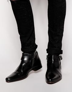 Image 1 ofASOS Boots in Leather With Buckle Strap Detail