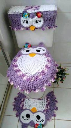 Jogo Banheiro croche corujas. Salvo da Net