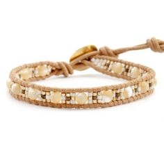Natural Mother of Pearl and Tribal Bead Single Wrap Bracelet on Beige Leather - Chan Luu