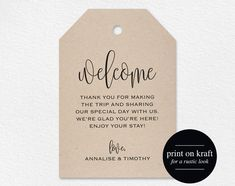 Welcome Wedding Tag Wedding Welcome Bag Tag von BlissPaperBoutique Vow Renewal Invitations, Bridal Shower Invitations, Shower Favors, Wedding Tags, Wedding Favors, Wedding Souvenir, Diy Wedding, Wedding Venues, Wedding Beach