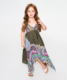 Another great find on #zulily! Green Geometric Halter Handkerchief Dress - Toddler & Girls #zulilyfinds