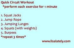 Quick Circuit Workout.  5 exercises for one minute each-3x through