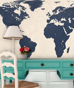 Navy World Map Wall Art //
