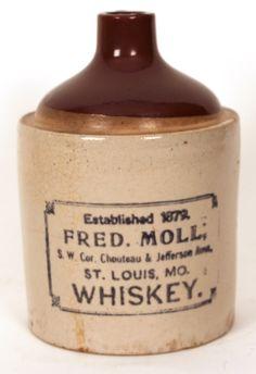 Geo Buente Stoneware Whiskey Jug St Louis Mo Antique