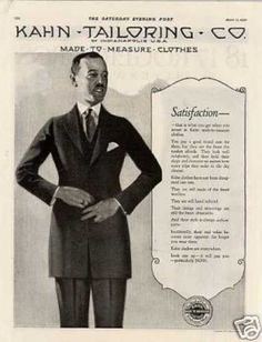 Kahn Tailoring Clothes (1920) The long length of the jacket here is transitional between the 3 q length coats of the edwardian era and suits of latter 20s onwards.