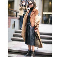 Moda uliczna na NYFW jesień-zima 2016/2017 Street style New York Fashion Week outfit suede coat