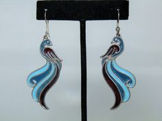 Vintage Jewelry Earrings Enamel Signed Sterling Silver Dangle Drop Set of Earrings Shades of Blue and Purple Hallmarked DanPickedMinerals