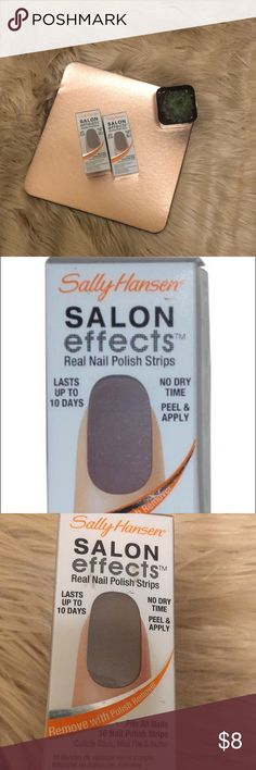 Sally Hansen Salon effects Set of 2 new in box Sally Hansen Salon effects nail polish strips. Easy to use! Just peel, apply and shape! Last up to 10 days. These are the shade  670 Debu-Taunt. They are a very pretty neutral color and go with plenty of colors! Other