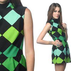 1960s Mod Dress Geometric Black Green Print 60s Micro Mini CIRCUS Op Art 70s Hippie 1970s Go Go Vintage Sleeveless Minidress Small S