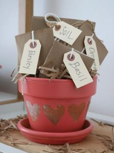 DIY Valentine's Day Herb Garden >> http://www.diynetwork.com/made-and-remade/make-it/create-this-companion-herb-garden-for-valentines-day?soc=pinterest