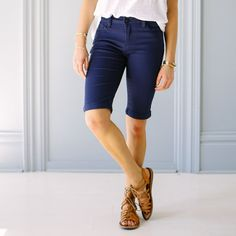 Boho Bermuda Shorts - Navy