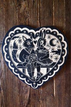 Valentine wood cut by Bryn Perrott  http://deerjerk.tumblr.com/archive