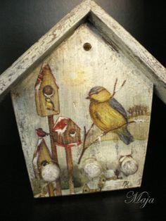 Decoupage Vintage, Decoupage Paper, Decopage Wood, Mod Podge Crafts, Altered Boxes, Birdhouses, Little Houses, Scrap, Shabby