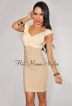 Champagne Mocha Ombre Ribbed Bandage Dress - 60