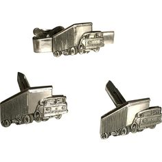 Truck Semi Cufflinks and Tie Pin set in Stainless Steel