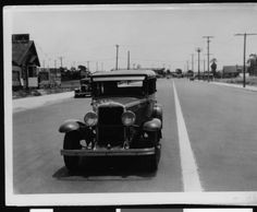Automobile on Lincoln Boulevard south of Venice Boulevard, May 27, 1934 :: California Historical Society Collection, 1860-1960