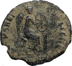 EUDOXIA Arcadius Wife 401AD Authentic Ancient Roman Coin VICTORY CHI-RHO i67533