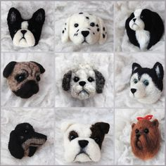 dog brooches: different breeds. needle felted by willane