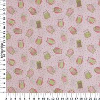 Children's Prints - Baby Tossed Owls on Pink Cotton Fabric