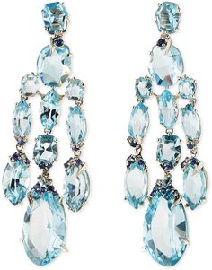 Alexis Bittar Fine Blue Topaz/Quartz/Sapphire & Diamond Chandelier Earrings