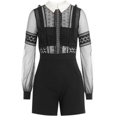 Self-Portrait Balloon Sleeve High Leg Shorts Playsuit (19.840 RUB) ❤ liked on Polyvore featuring jumpsuits, rompers, white, long sleeve romper, fitted tops, lace rompers, long-sleeve romper and playsuit romper