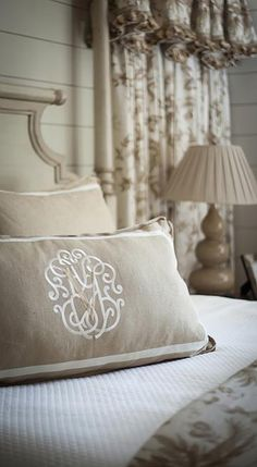Nice neutral tones, good size for a monogram on a bed pillow - Francie Hargrove ~ designer