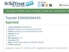 AdClickXpress Withdrawal Proof no 31a! I am getting paid daily at ACX and here is proof of my latest withdrawal. This is not a scam and I love making money online with Ad Click Xpress. Here is my Withdrawal Proof from AdClickXpress. I get paid daily and I can withdraw daily.