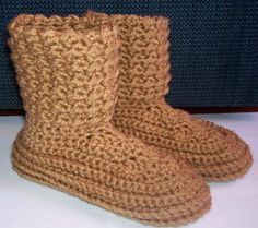 Crocheted Boot Slippers Re-sizing Pattern