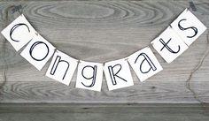 Congrats Banner, Garland, Congratulations Bunting, Photo Prop, Congratulations #letterkay - Letter Kay - www.letterkay.etsy.com $14