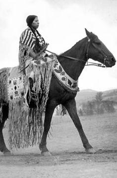 ~Antique Photograph~   Nez Perce  Ann Kamiakin George on horseback.  Washington.