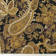 Black & Brown Paisley Cotton Calico Fabric