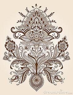 Henna Lace Paisley Flower Vector by Krookedeye, via Dreamstime