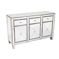 Apolo Mirrored Glass 3 Door 3 Drawer 130cm Sideboard - Antique Si...