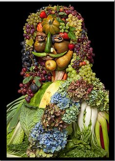 Portraits : You want to eat them Made With Egg, Flowers and vegetables by Klaus Enrique Gerdes