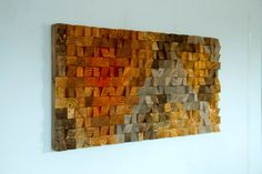 Rustic Wood Wall Art from reclaimed wood, 3D triangles/trapezes, hand painted, woodburned, cut, dyed and sanded. Each piece is painted in unique acrylic or wood dye colours mixed by me, and not available in any shop, making the sculpture unique and one of a kind. Each wood piece is