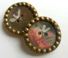 Antique Buttons w/Etched Flower on Smoky Mother of Pearl framed w/Brass Border
