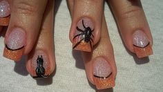 Halloween Nails: Cat and Spider Creative Nail Art Designs