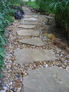 Austin lawn drainage, dry creek beds stepping stone pathway, back garden design, backyard Landscaping With Rocks, Front Yard Landscaping, Backyard Landscaping, Backyard Ideas, Stone Landscaping, Front Walkway, Patio Ideas, Modern Backyard, Backyard Patio