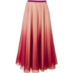 Redvalentino Long Netted Skirt (1,300 CAD) ❤ liked on Polyvore featuring skirts, bottoms, pink, long pink maxi skirt, net skirt, long red maxi skirt, ombre skirt and pink layered skirt