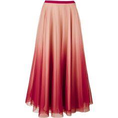 Redvalentino Long Netted Skirt ($985) ❤ liked on Polyvore featuring skirts, bottoms, pink, zipper skirt, layered skirt, red maxi skirt, pink skirt e pink maxi skirt