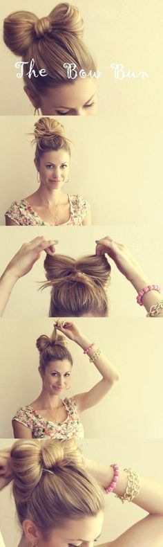 Idées de coiffure en chignon ou comment faire un chignon noeud sur cheveux long ou mi longs, attacher ses cheveux par un joli noeud qui les attache.