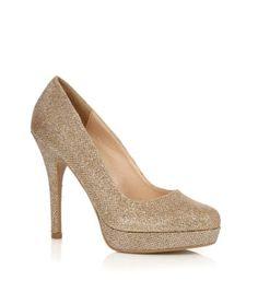 Gold Glitter Platform Court Shoes