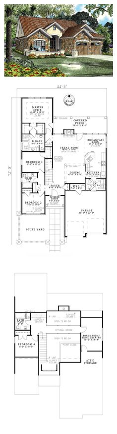 Italian House Plan 82112 | Total Living Area: 1875 sq. ft., 4 bedrooms & 3 bathrooms. Stones in shades of clay, sage and wheat in this design are the same colors the artist used in a painting we bought in Italy. #houseplan #italianstyle