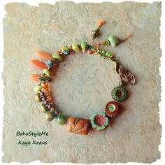 Boho Beaded Bracelet, Earthy Rustic Hippie Beads, Hand Knotted Ethnic Tribal…