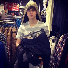 Riley and Connor shopping for clothes for the tour...at H.