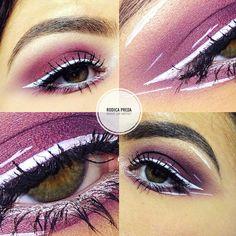 #makeup #eyelinerwhite #purple