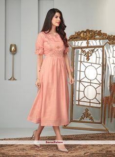 Peach Cotton slub ready made kurti Kurta Designs Women, Blouse Designs, Salwar Designs, Cotton Frocks, Embroidered Kurti, Party Wear Kurtis, A Line Kurta, Kurti Patterns, Salwar Pattern