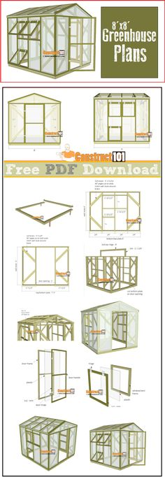 Greenhouse plans, 8'x8', free PDF download, cutting list, and shopping list. #woodworkingideas