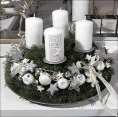 ღ Advent krans ღ Christmas Advent Wreath, Christmas Sewing, Christmas Holidays, Christmas Crafts, Advent Wreaths, Christmas Centerpieces, Xmas Decorations, Silver Christmas, Holiday Decor